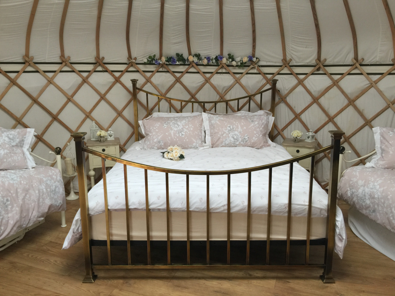 Potter's Lodge Yurt looking pretty with new romantic bedding. Ideal for a weekend away with a loved one.