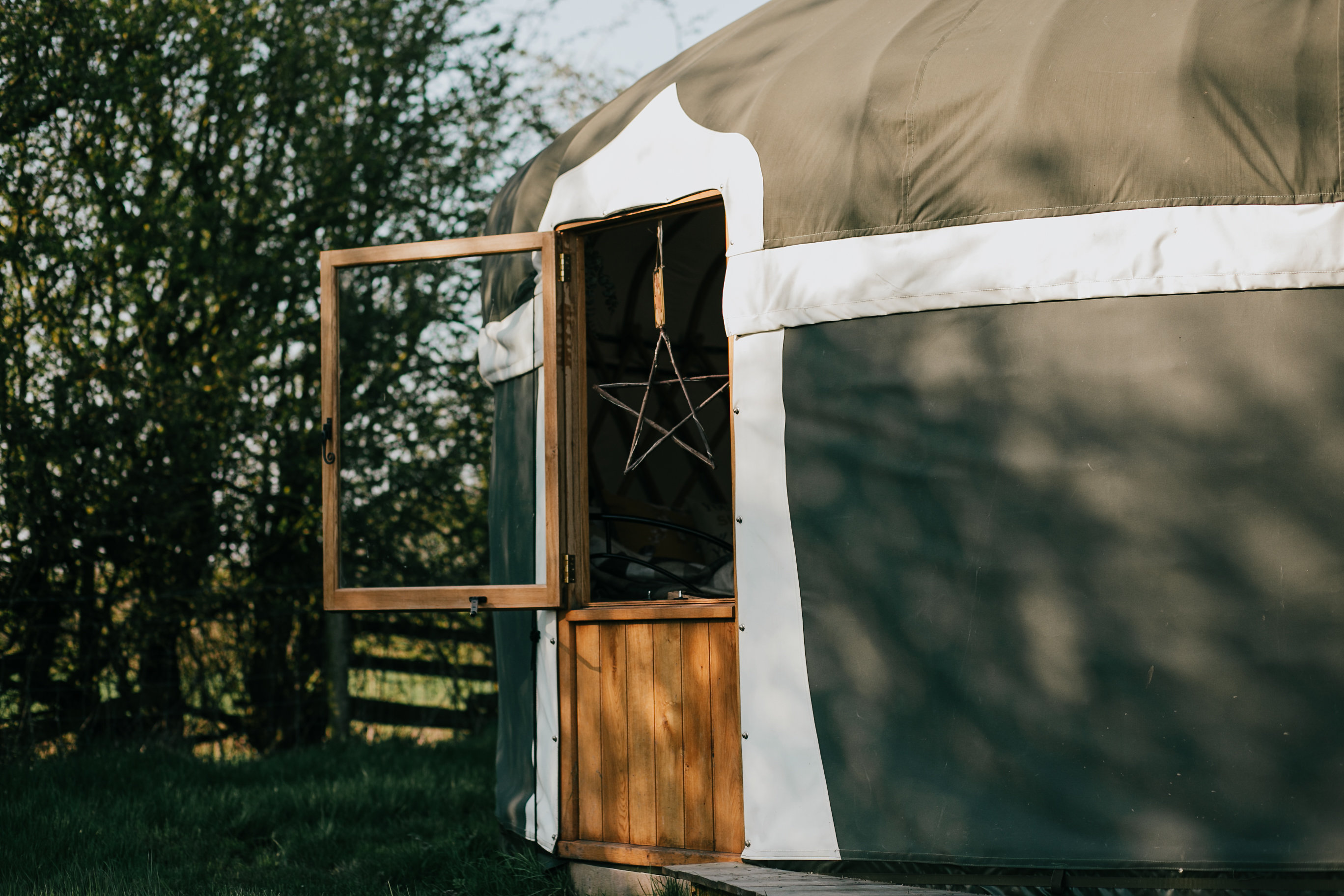 Milnes corner yurt in a picturesque corner of our glampsite, surrounded by nature